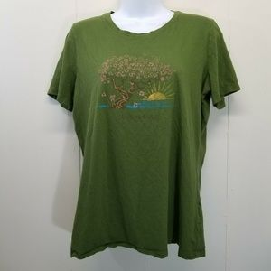 Life Is Good M T Shirt Top Green Tee Tree Sunrise